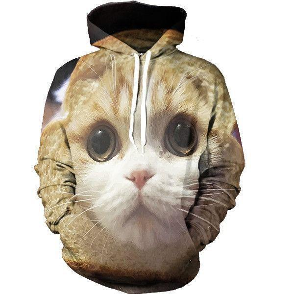 Cute Kitten Cat Sparkling Eyes Adorable Tiny Cool Trendy Hoodie - Superheroes Gears