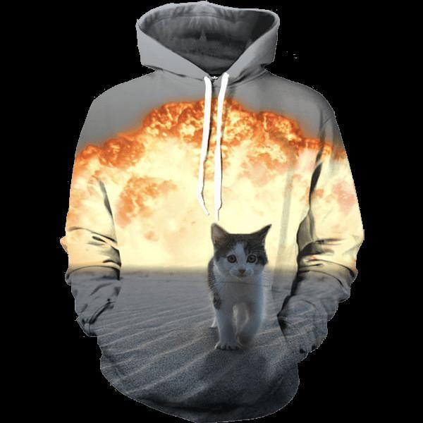 Cute Kitten Cat Walking Away From Fire Explosion Stunning Hoodie - Superheroes Gears