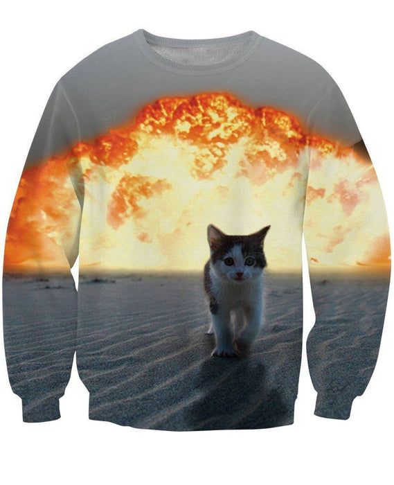 Cute Kitten Cat Walking Away From Fire Explosion Stunning Sweatshirt - Superheroes Gears