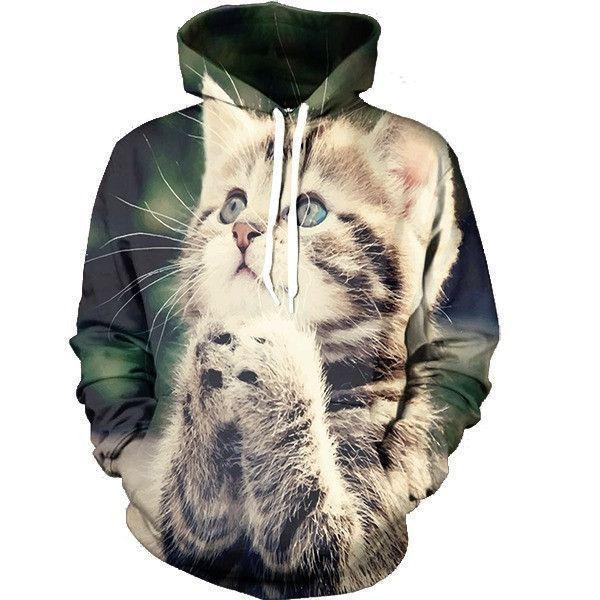 Cute Kitty Cat Praying Begging Tiny Cool Trendy Design Hoodie - Superheroes Gears