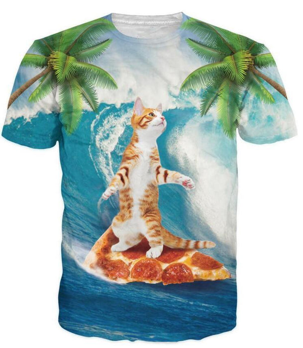 Cute Kitty Cat Surfing on Pizza 3D Palm Tree Summer Fabulous T-Shirt - Superheroes Gears