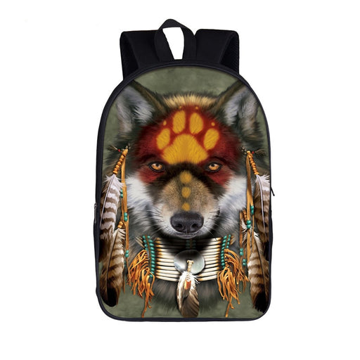 Cute Native American Wolf Paw Imprinted Forehead Backpack