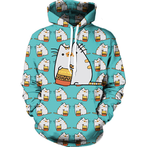 Cute Pusheen Cat Eating Fleektos Sticker Tiny Colorful Trendy Design Hoodie - Superheroes Gears