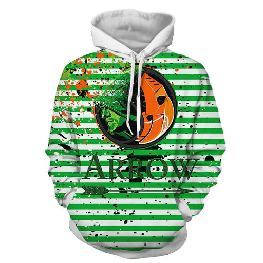 DC Arrow & Villain Deathstroke Logo Green Stripes Hoodie