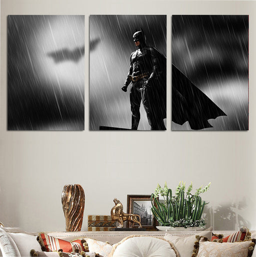 DC Batman Bat-Signal In The Rain 3pcs Wall Art Canvas Print