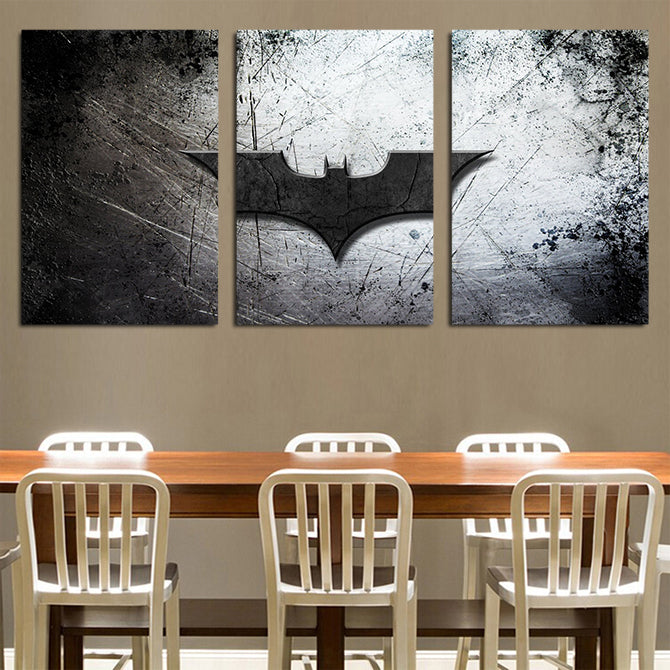DC Comics Batman Black Bat Symbol 3pcs Wall Art Canvas Print