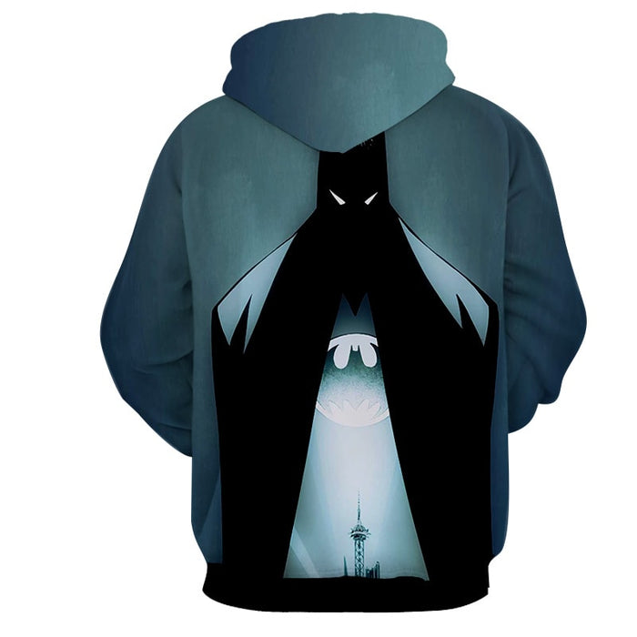 DC Comics Batman Hero Logo On The Moon Full Print Hoodie - Superheroes Gears