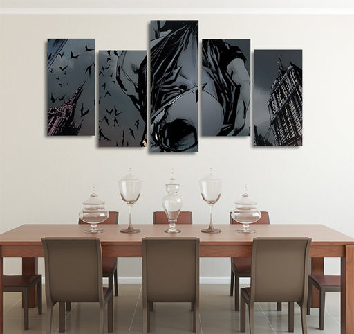 DC Comics Batman Jumped Off A Building 5pcs Wall Art Canvas