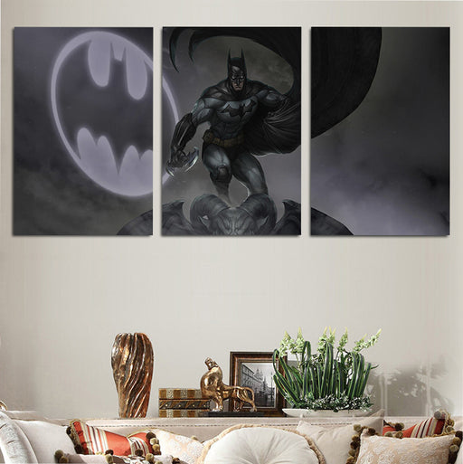 DC Comics Batman Logo Bat-Signal 3pcs Wall Art Canvas Print