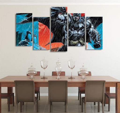 DC Comics Buff Batman In The Rain 5pcs Wall Art Canvas Print