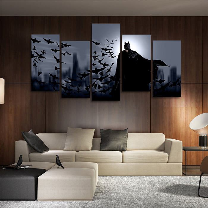 DC Comics Colony Of Bats & Batman 5pcs Wall Art Canvas Print