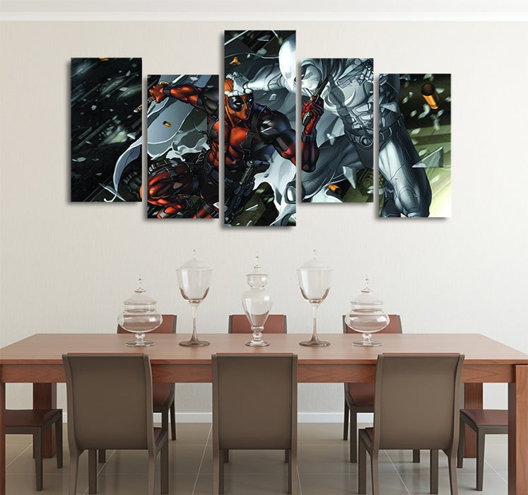 DC Comics Deadpool Vs Moon Knight 5pcs Wall Art Canvas Print