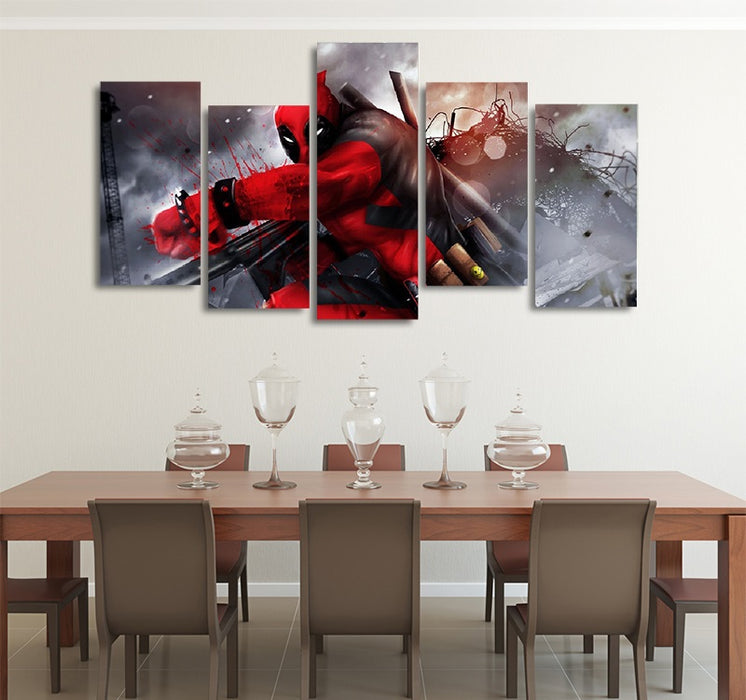 DC Comics Deadpool With Firearms 5pcs Wall Art Canvas Print
