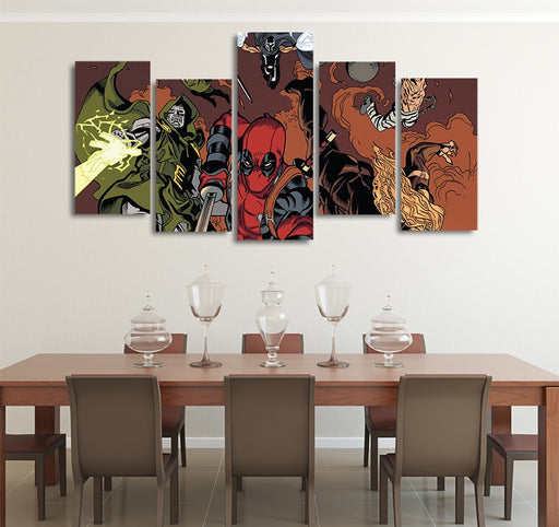 DC Comics Deadpool & Doctor Doom 5pcs Wall Art Canvas Print