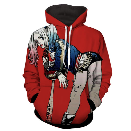 DC Comics Harley Quinn Wearing Jacket On Red Hoodie