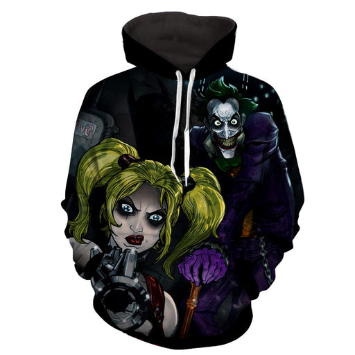 DC Comics Joker Harley Quinn Attacked On Dark Hoodie