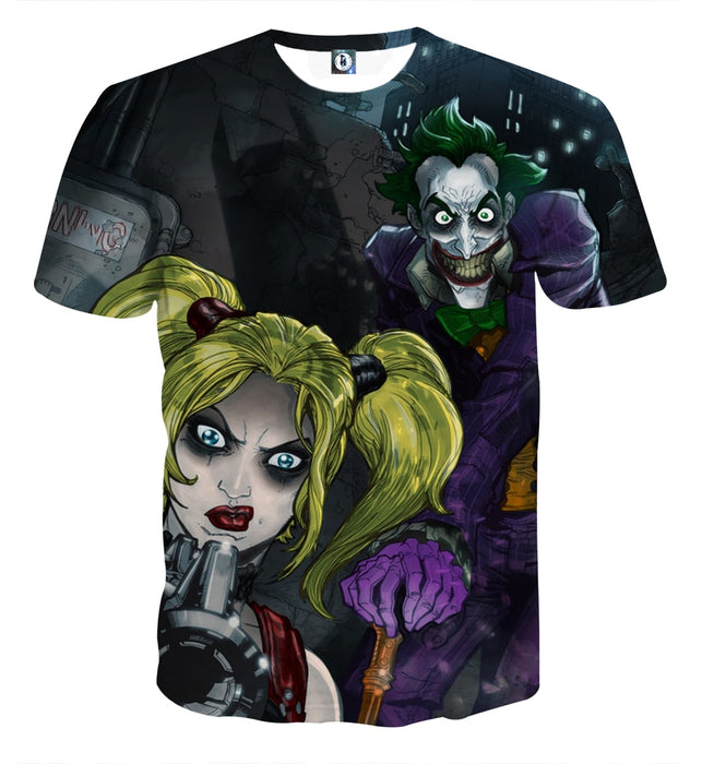 e52dec25 DC Comics Joker Harley Quinn Attacked On Dark T-shirt — Superheroes ...
