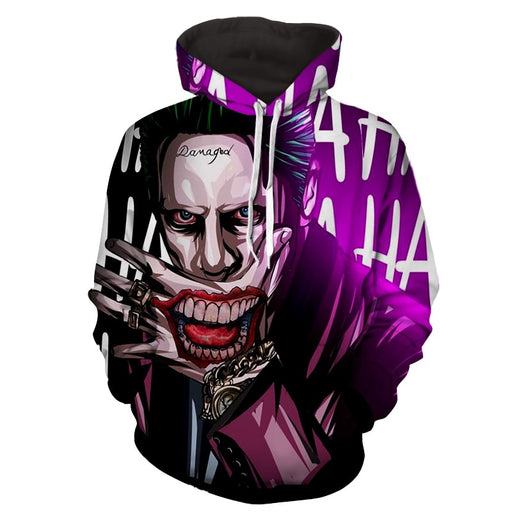 DC Comics Joker Optical Illusion Design Full Print Hoodie