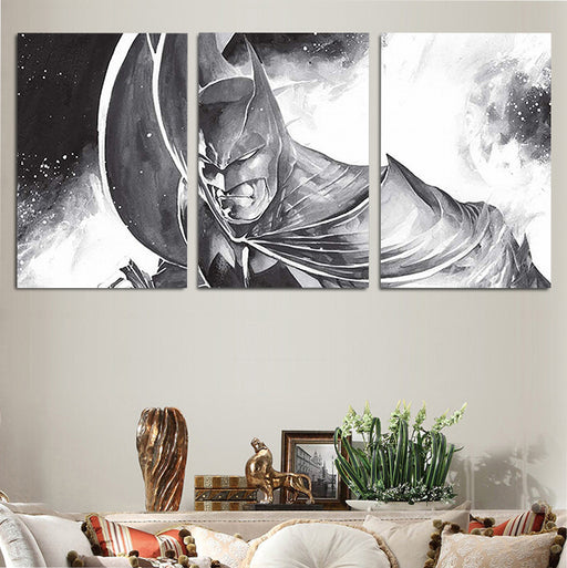 DC Comics Mad Batman Drawing Gray 3pcs Wall Art Canvas Print
