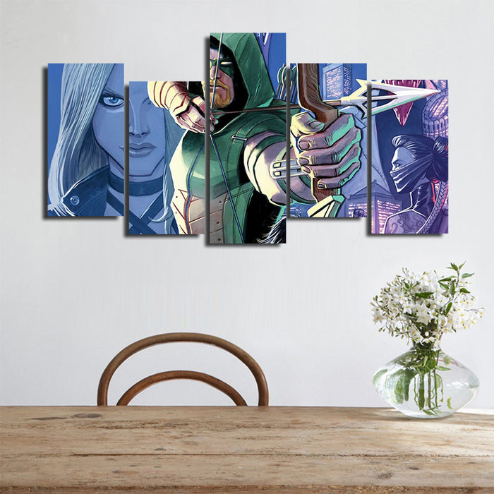 DC Comics Oliver Queen The Green Arrow 5pcs Wall Art Canvas