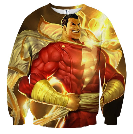 DC Comics Powerful Captain Marvel Shazam Golden Sweatshirt