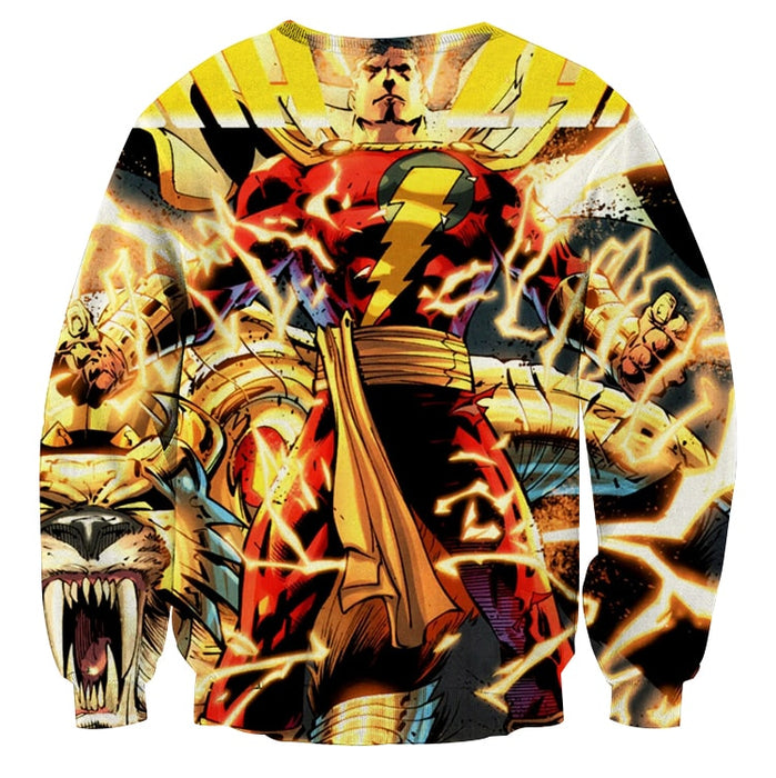 DC Comics Shazam Godly Lightning Blasts 3D Print Sweatshirt