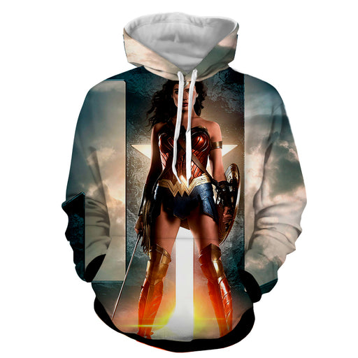 DC Comics Wonder Woman Gal Gadot Standing Fierce Cool Hoodie