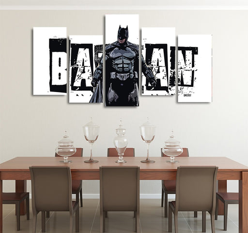 DC Cool Batman Pose Black & White Banner 5pcs Canvas Print