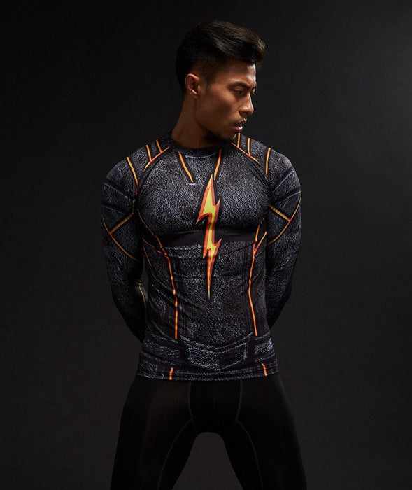 DC Flash Inspired 3D Printed Compression Raglan Long Sleeves T-shirt - Superheroes Gears