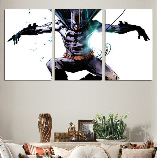 DC Serious Batman Superhero White 3pcs Wall Art Canvas Print