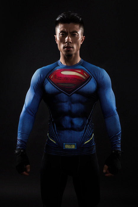 DC Superman Inspired Blue 3D Printed Compression Training T-shirt - Superheroes Gears