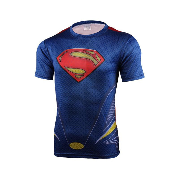 DC Superman Justice League of America Symbol 3D Fitness T-shirt - Superheroes Gears