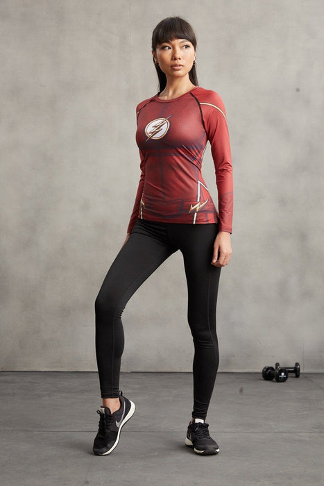 DC The Flash 3D Printed Compression Red Long Sleeves Woman Fit T-shirt - Superheroes Gears