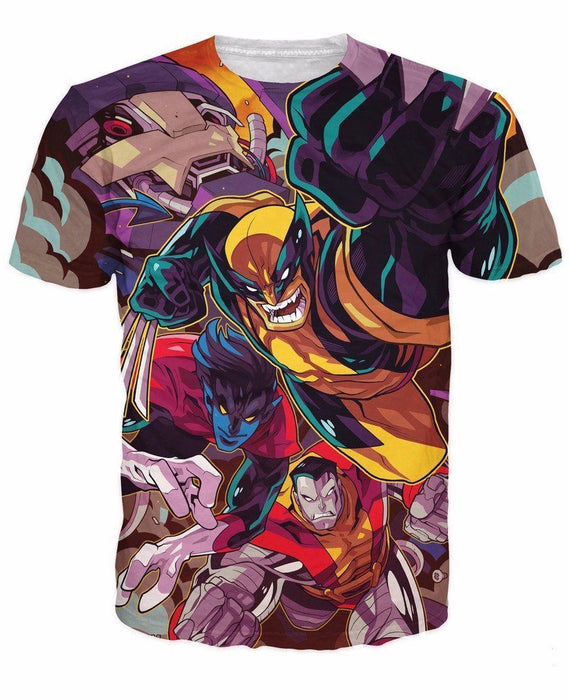 DC X-Men Wolverine Night Crawler Colossus Action Cartoon Vibrant T-Shirt - Superheroes Gears
