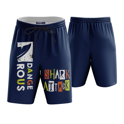 Dangerous Shark Attack Blue Boardshorts Swim Trunks - Superheroes Gears