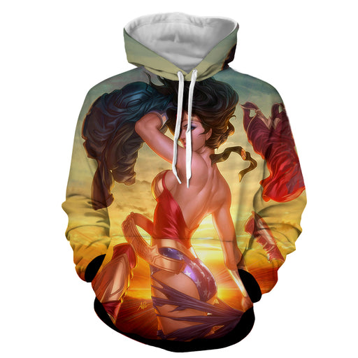 Daring Wonder Woman 3D Animated Print On Sunset Pose Hoodie