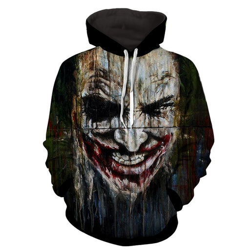 Dark Knight Joker Painted Creepy Face Vintage Hoodie