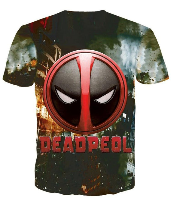 Deadpool Chibi Style Figure Full Print Cool Theme T-Shirt - Superheroes Gears