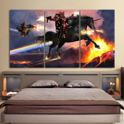 Deadpool Horse Riding Combat 3pcs Wall Art Canvas Print