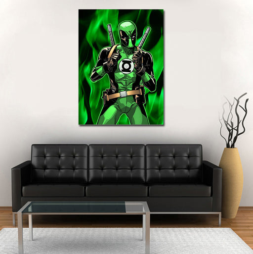 Deadpool In Green Lantern Costume 1pc Wall Art Canvas Print