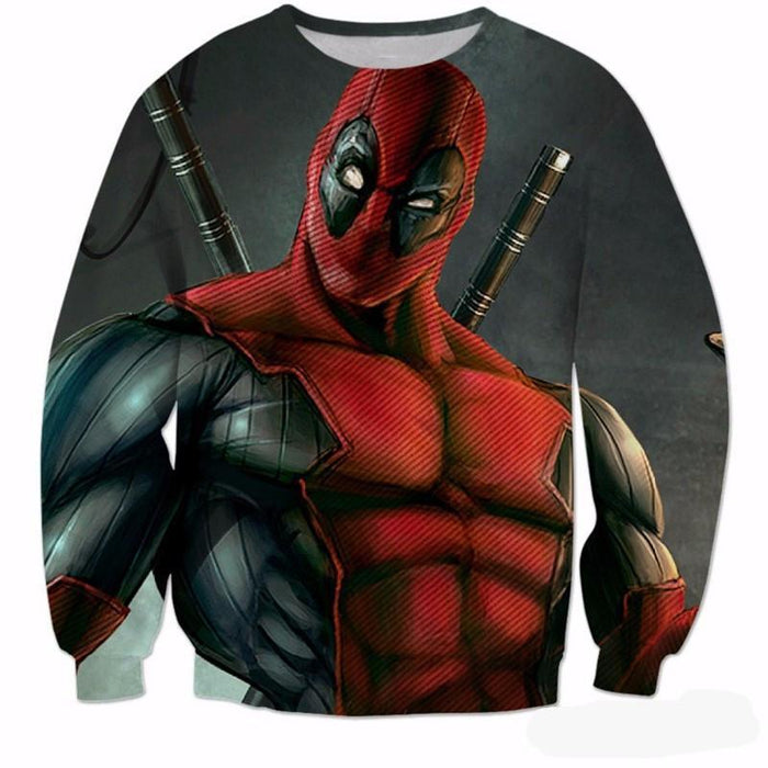 Deadpool Marvel Universe Anti Hero Muscular Dual Swords Design Sweatshirt - Superheroes Gears