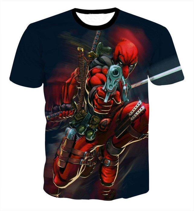 Deadpool Mercenary Gun Pointing Full Armed Cartoon Vibrant T-Shirt - Superheroes Gears