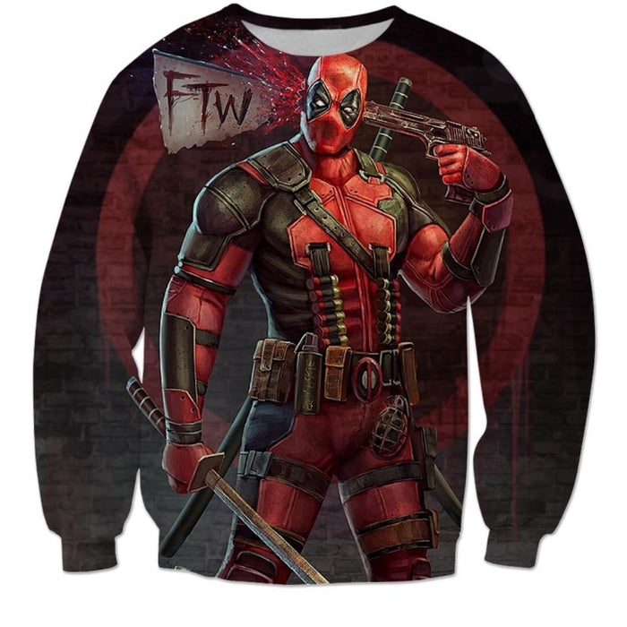 Deadpool Shooting Head Weapons Top to Toe FTW Funny Design Sweatshirt - Superheroes Gears