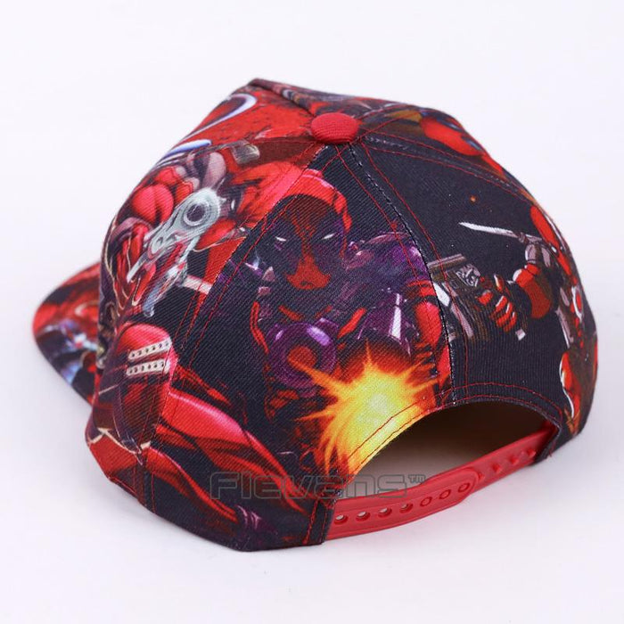 Deadpool Symbol All Style In Red Funky Snapback Baseball Cap - Superheroes Gears