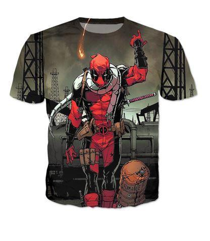 Deadpool Villain Execution Burning Fire Comic Drawing Style Cool T-Shirt - Superheroes Gears