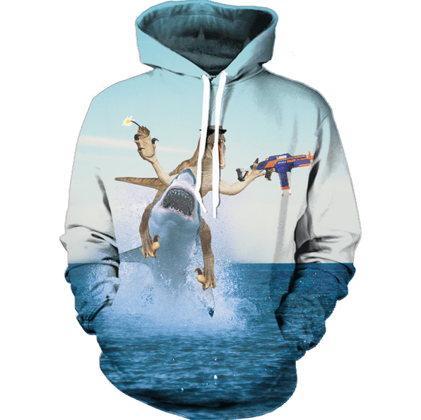 Dinosaur Shark Gangster Bomb Shooting Gun Blue Sea Color Naughty Hoodie - Superheroes Gears