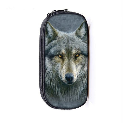 Dominant Alpha Gray Wolf Canine Stare School Pencil Case