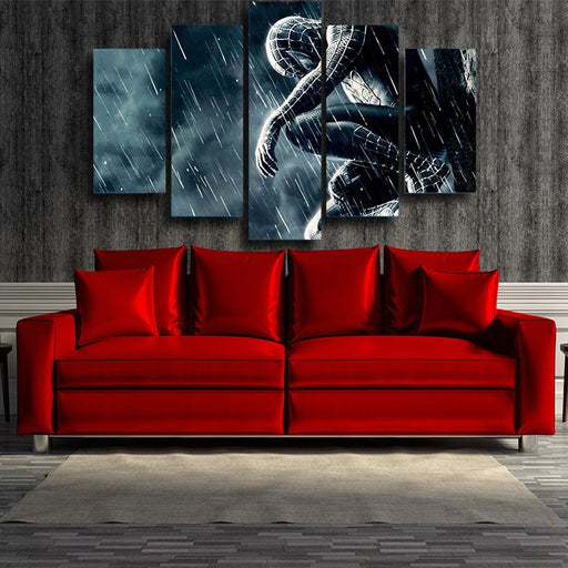 Emotional Spider-Man In The Rain 5pcs Wall Art Canvas Print