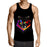 Fierce Asymmetric Badass Wolf Face Design Black Tank Top