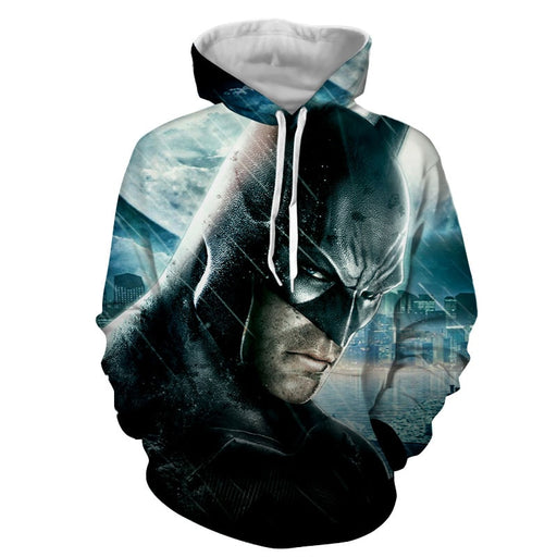 Fierce Batman Face Shot Under The Rain Full Print Hoodie